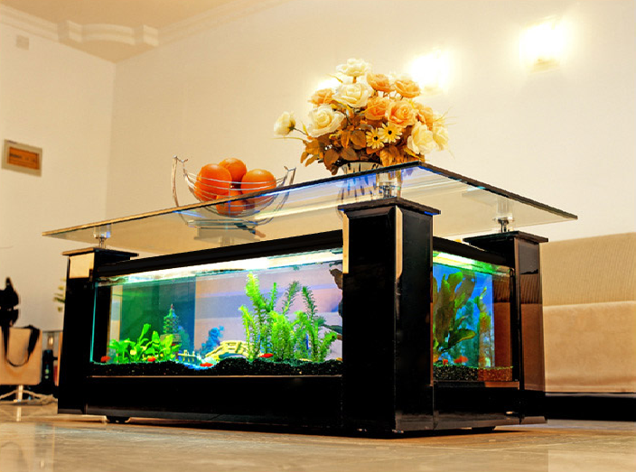 un salon unique gr ce la table basse aquarium ma table. Black Bedroom Furniture Sets. Home Design Ideas